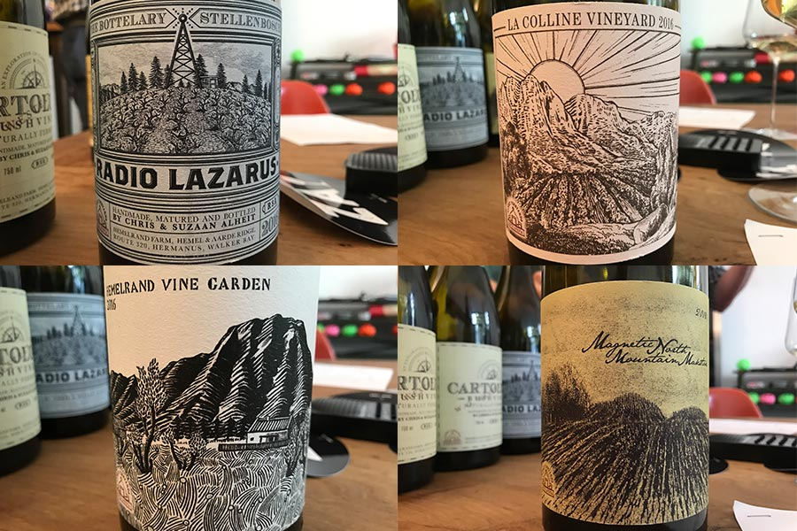 Alheit-Vineyards Crus: Radio Lazarus, La Colline, Hemelrand Vineyard, Magnetic North (von links oben im Uhrzeigersinn)