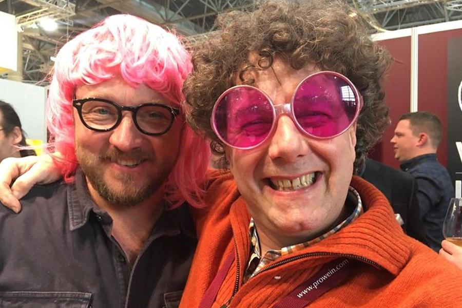 Spaß: Hendrik mit Philippe Pacalet auf der ProWein 2018