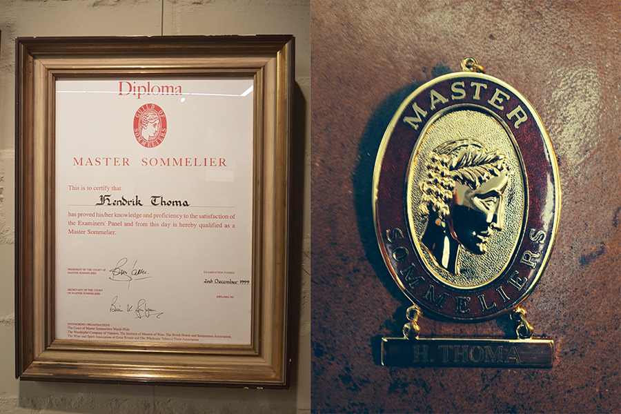 Urkunde und Badge - Master Sommelier Hendrik Thoma
