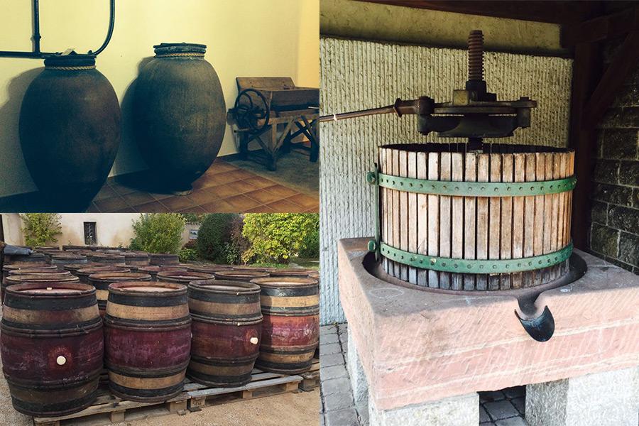 Amphore, alte Fässer, Baumpresse