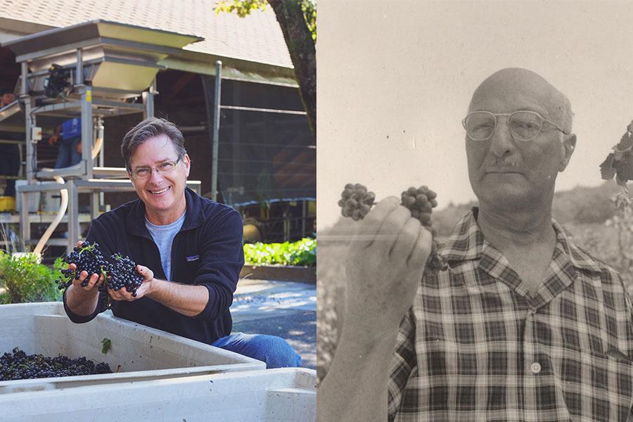 Mc ... ist der aktuelle Kellermeister des Weinguts (links) | James D. Zellerbach gründete Hanzell in den 50iger Jahren (rechts)