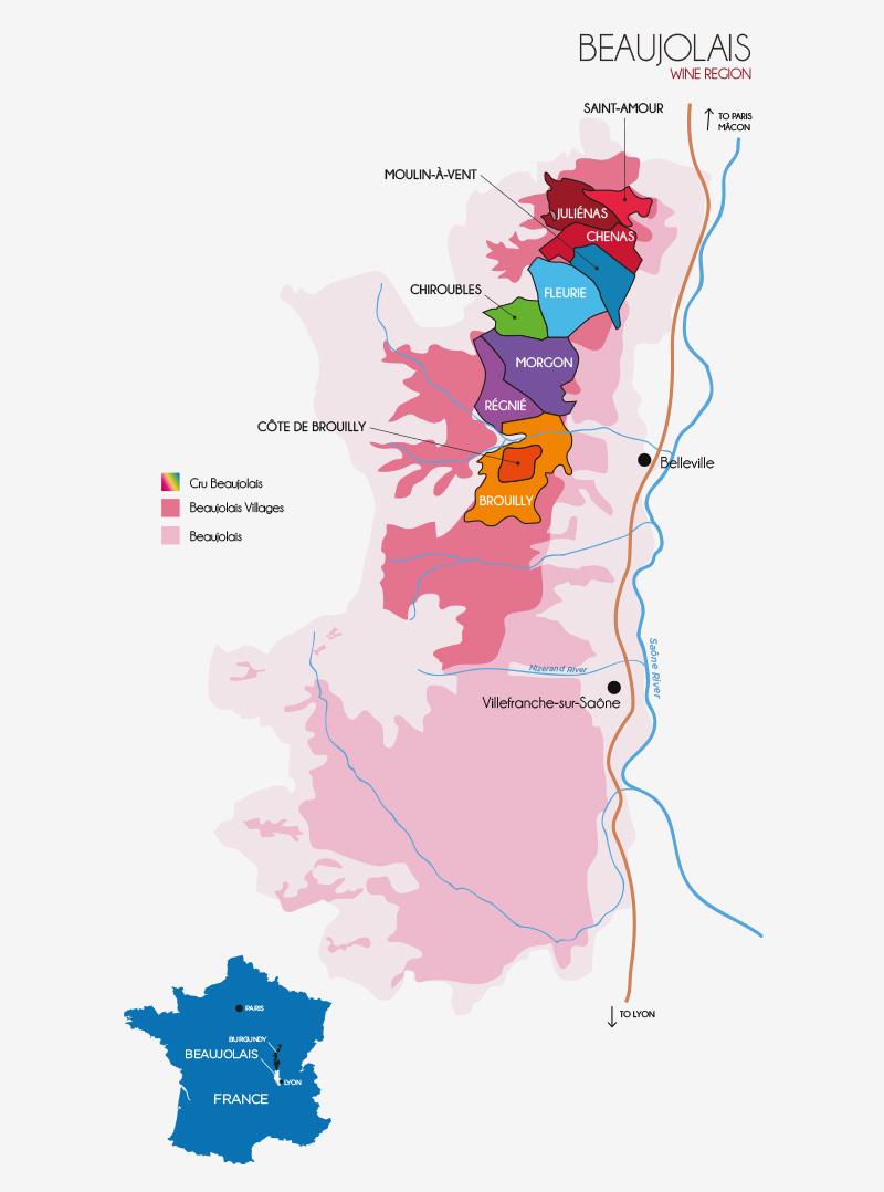 Im Norden des Beaujolais liegen die zehn Cru Lagen des Beaujolais: Juliénas, Saint-Amour, Chénas, Moulin-a-vent, Fleurie, Chiroubles, Morgon, Régnié, Côte de Brouilly und Brouilly