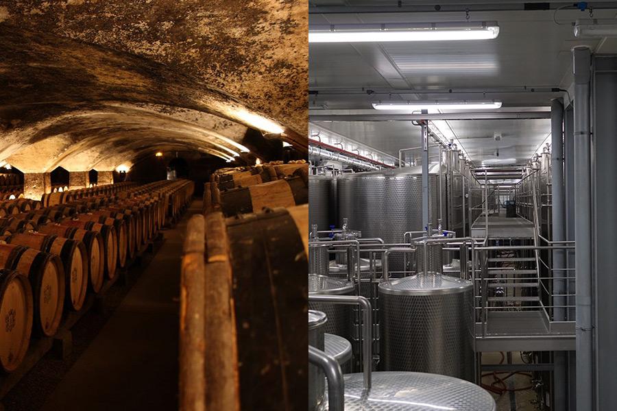 Foto mit traditionellem und industriellem Weinkeller