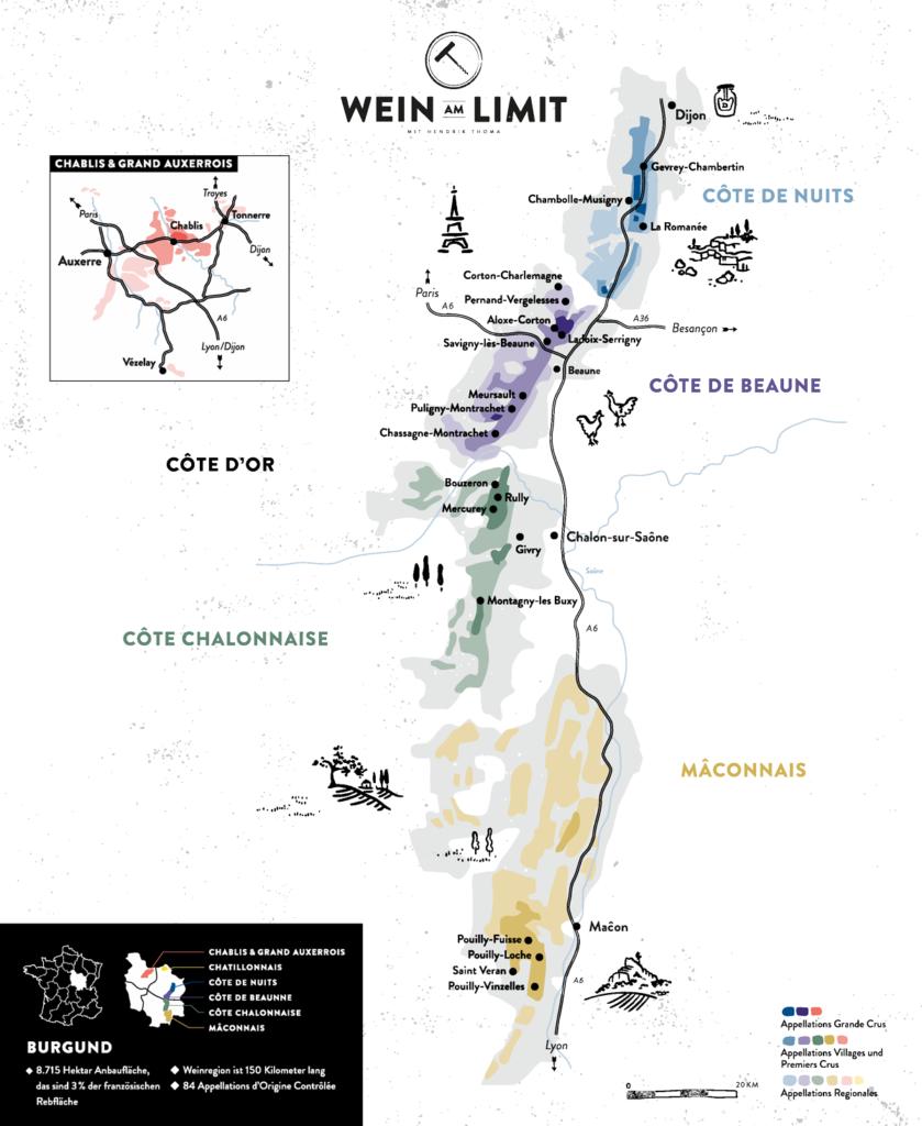 Weinbau Karte Burgund Grobübersicht
